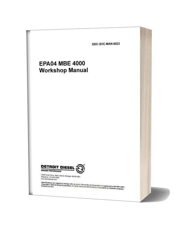 Detroit Diesel Epa04 Mbe 4000 Workshop Manual