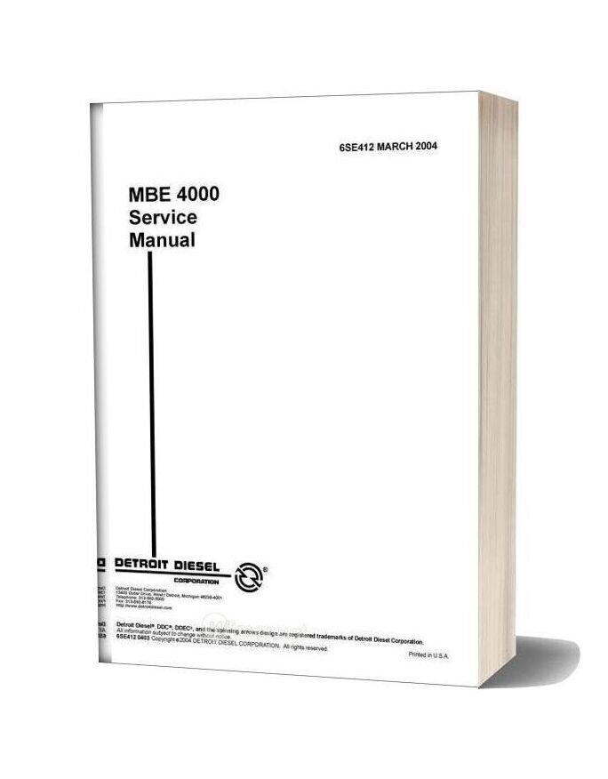 Detroit Diesel Mbe4000 Service Manual