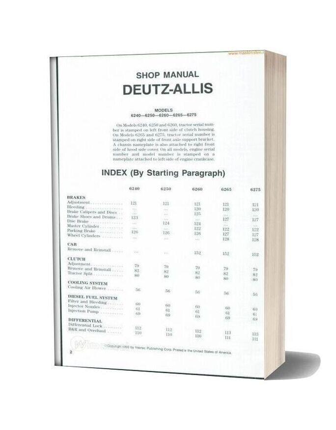 Deutz Allis 6240series Shop Manual Sec Wat