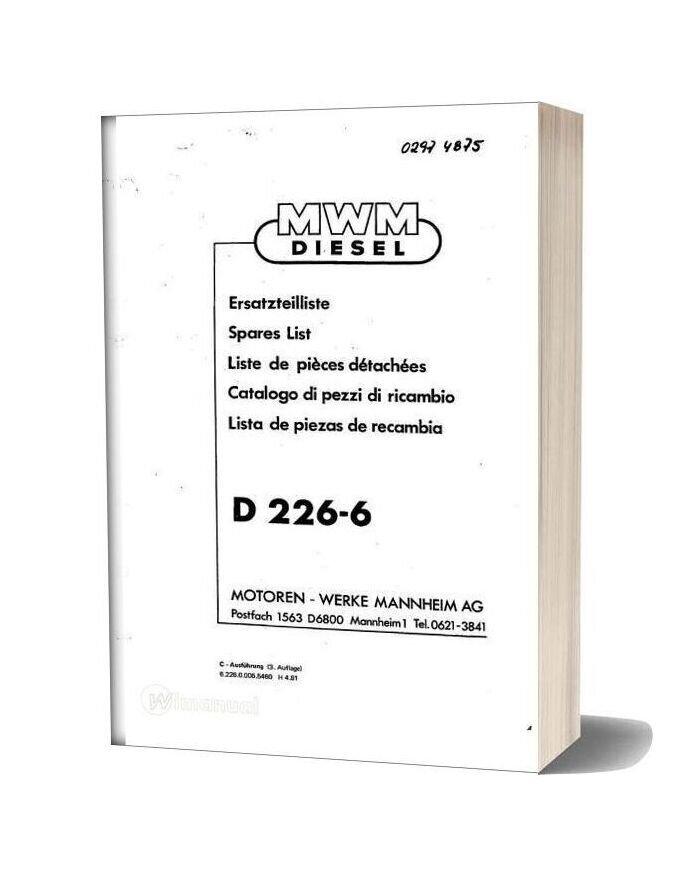 Deutz D 226 6 Spare Parts Catalogue