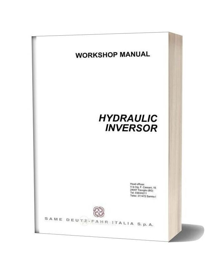 Deutz Fahr Hydraulic Inversor 110 130 Workshop Manual