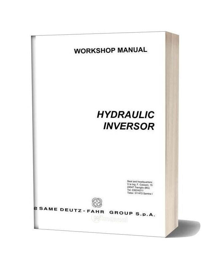 Deutz Fahr Hydraulic Inversor 80 105 Workshop Manual