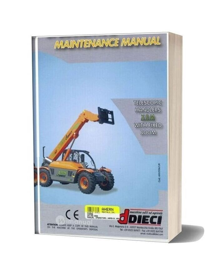 Dieci Telescopic Handlers Xrm With Fixed Boom Maintenance Manual