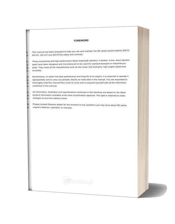 Doosan Engine De 12 Maintenance Manual