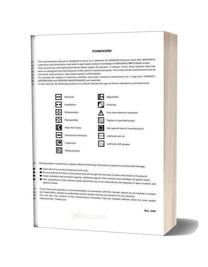 Doosan Engine Dv11 Maintenance Manual