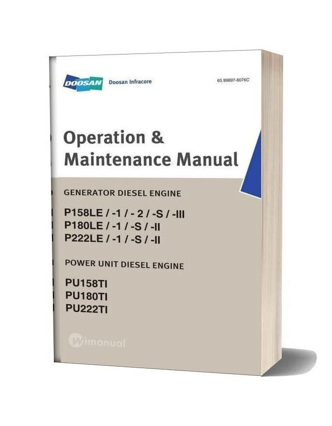 Doosan Engine Dv15 Generator Operation & Maintenance Manual