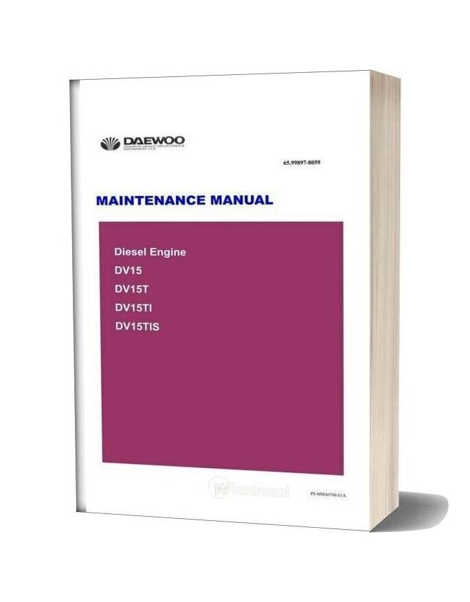 Doosan Engine Dv15 Tier Ii Maintenance Manual