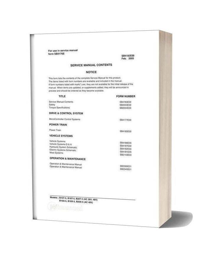 Doosan Forklift B15 20t 5 Ac Service Manual