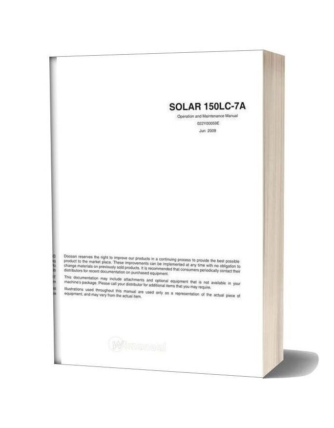 Doosan Solar 150lc 7a Operation And Maintenance Manual