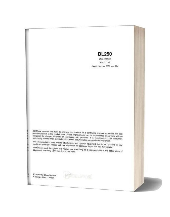 Doosan Wheel Loader Dl250 Shop Manual (K1023773e)