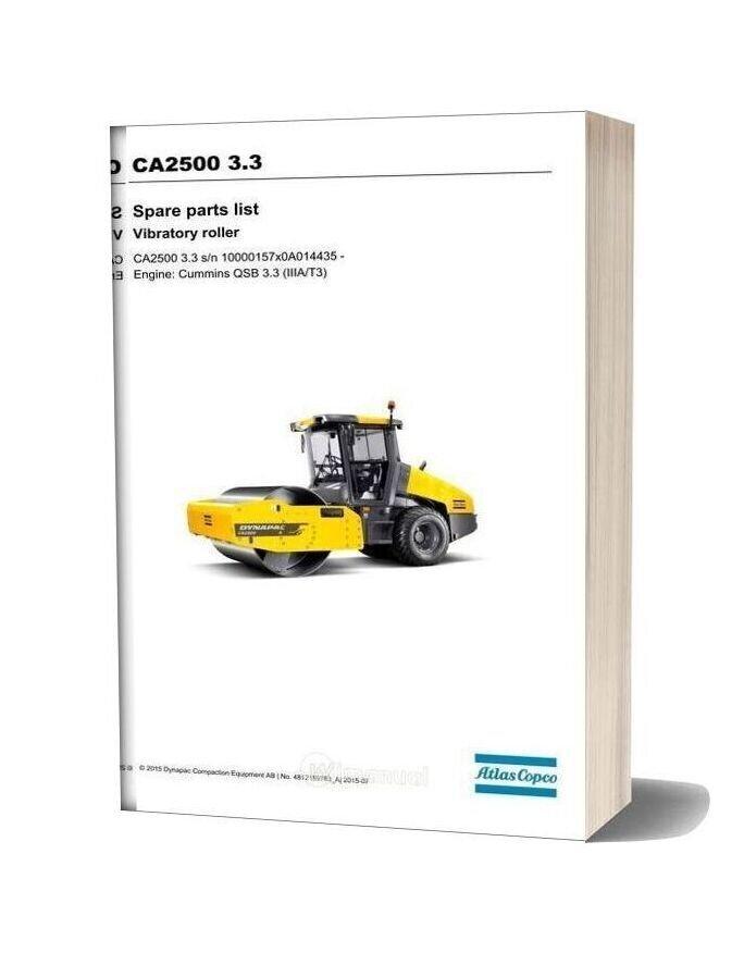 Dynapac Ca2500 3 3 Spare Parts Catalogue
