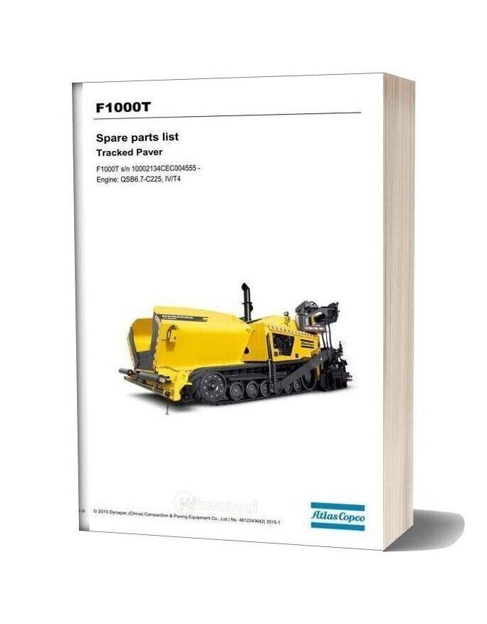 Dynapac F1000t Paver Spare Parts List 4812243642