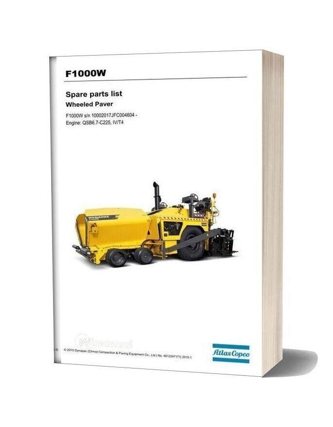Dynapac F1000w Spare Parts List 4812247171