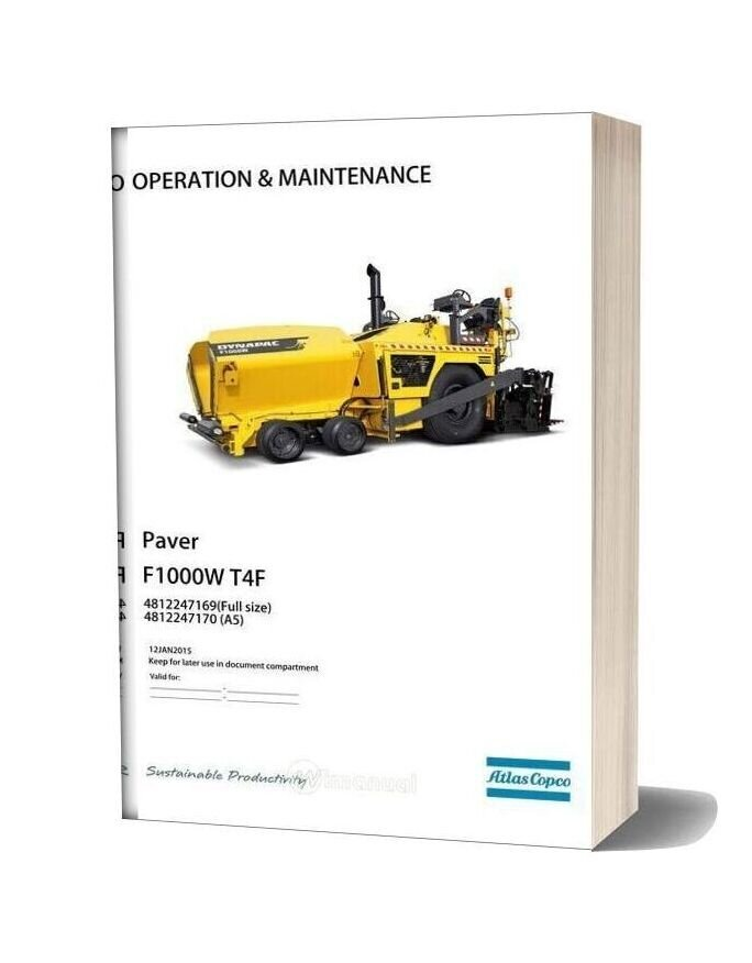 Dynapac F1000w T4f Operation & Maintenance Manual