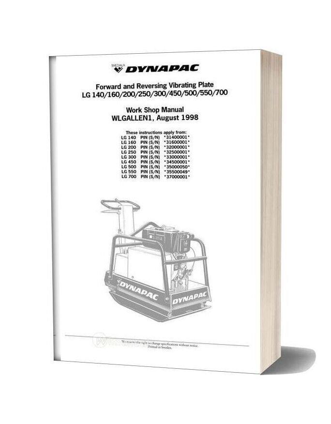 Dynapac Lg 140160200250300450500550700 Workshop Manual