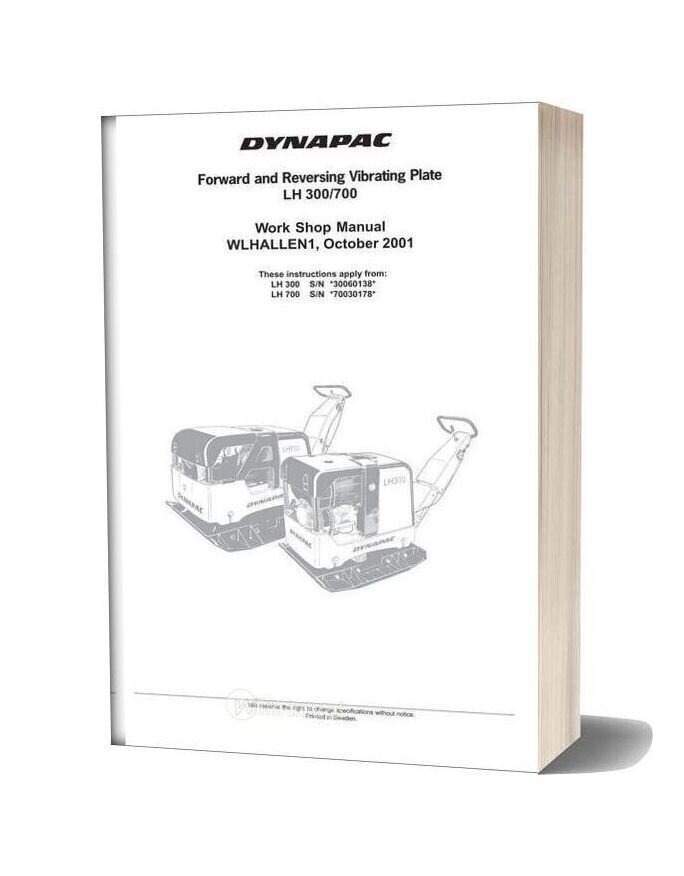 Dynapac Lh300 Lh700 Workshop Manual