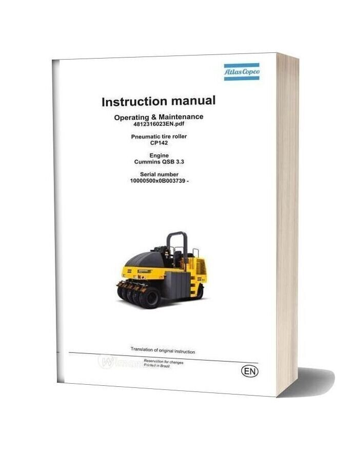 Dynapac Pneumatic Tire Roller Cp142 Operation And Maintenance
