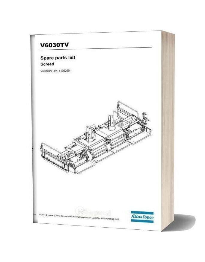 Dynapac V6030tv Spare Parts Catalogue