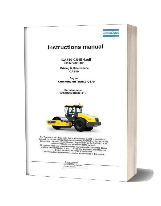 Dynapac Vibratory Roller Ca510 Driving & Maintenance Manual 4812273251
