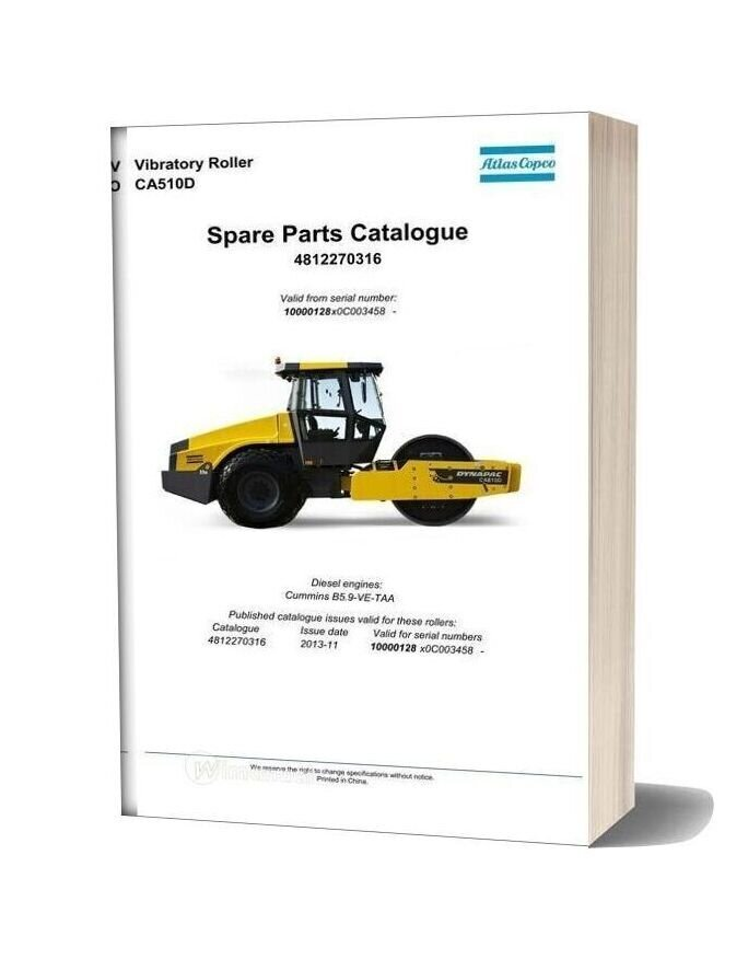 Dynapac Vibratory Roller Ca510d Spare Parts Catalogue 4812270316