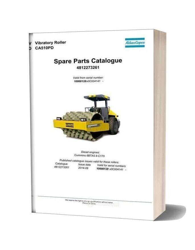 Dynapac Vibratory Roller Ca510pd Spare Parts Catalogue 4812273261