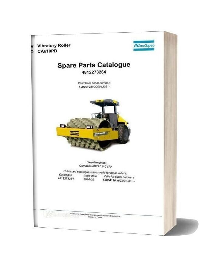 Dynapac Vibratory Roller Ca610pd Spare Parts Catalogue 4812273264