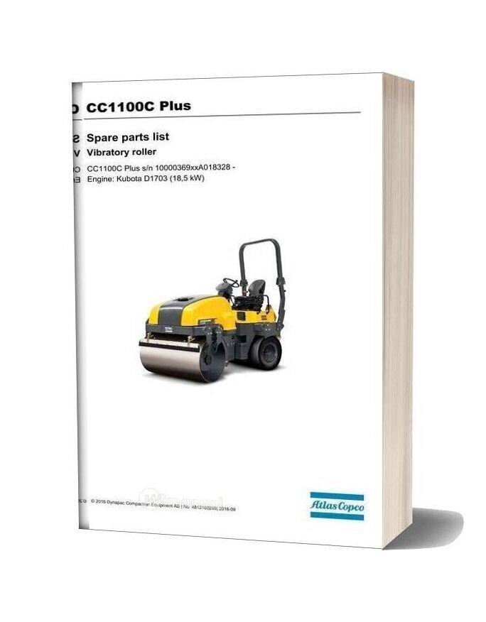 Dynapac Vibratory Roller Cc1100c Plus Parts Manual