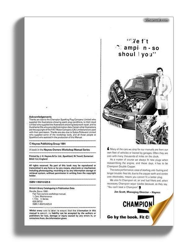 Fiat Tipo Service And Repair Manual Haynes