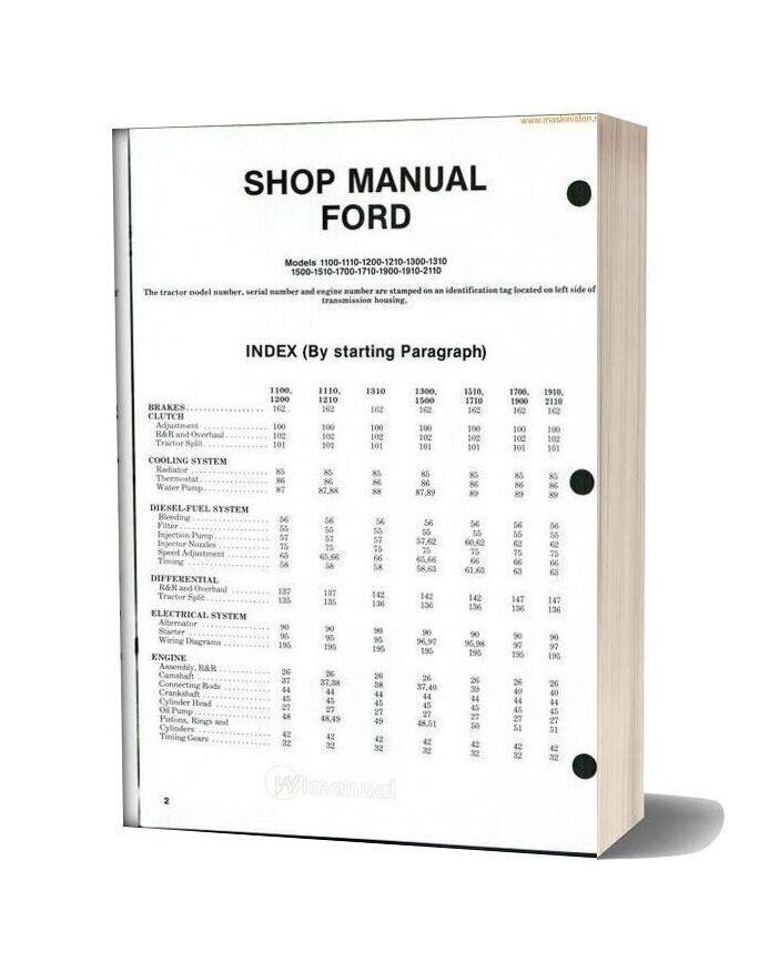 Ford 1100series Shop Manual Sec Wat
