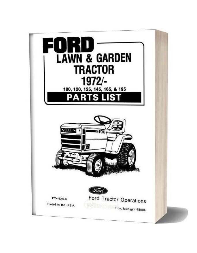 Ford 1972 Newer 100 120 125 145 165 195 Parts List
