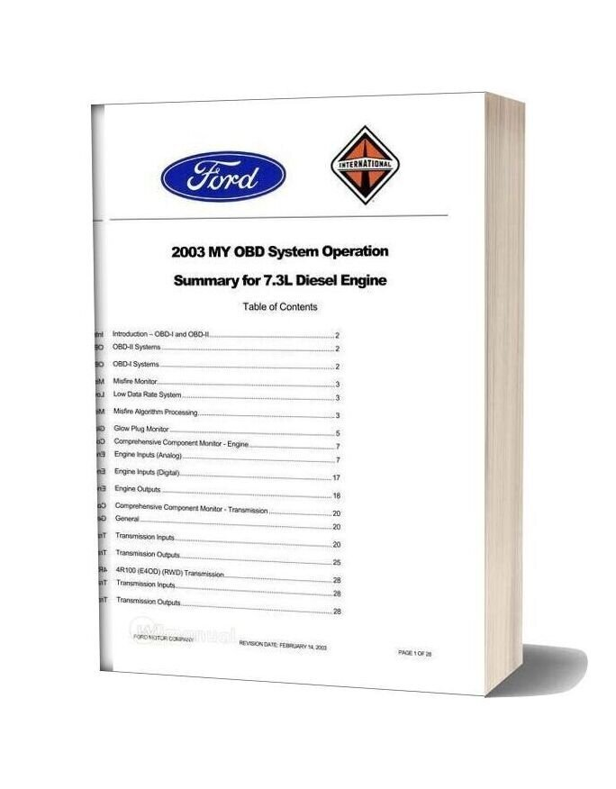 Ford 2003 My Obd System Operation