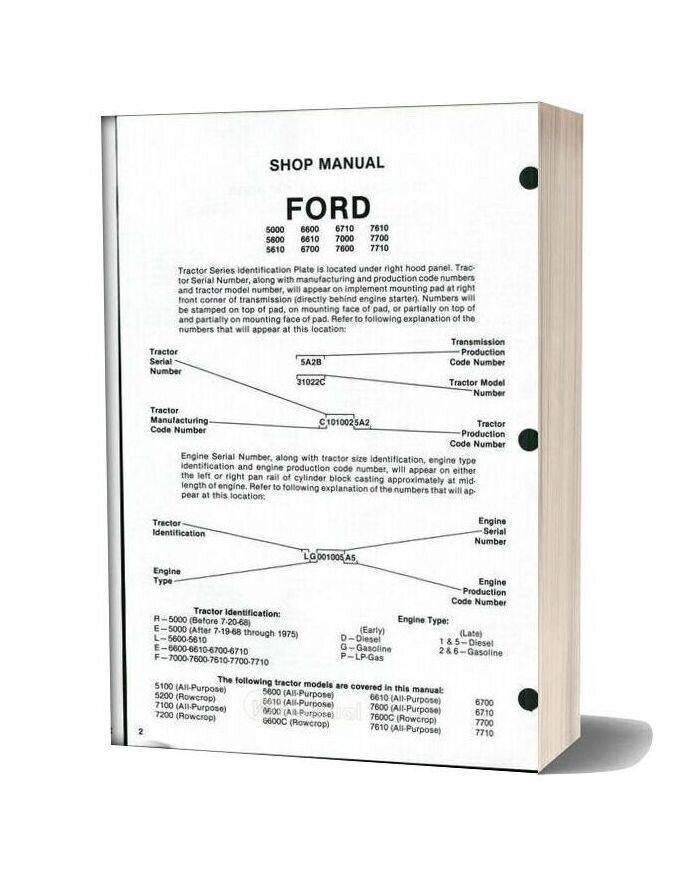Ford 5000 5600 5610 6600 6610 6700 6710 7000 7600 7610 7700 7710 Shop Manual