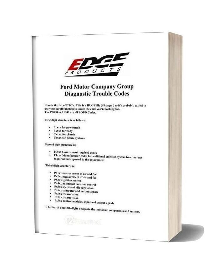 Ford Motor Company Group Diagnostic Trouble Codes