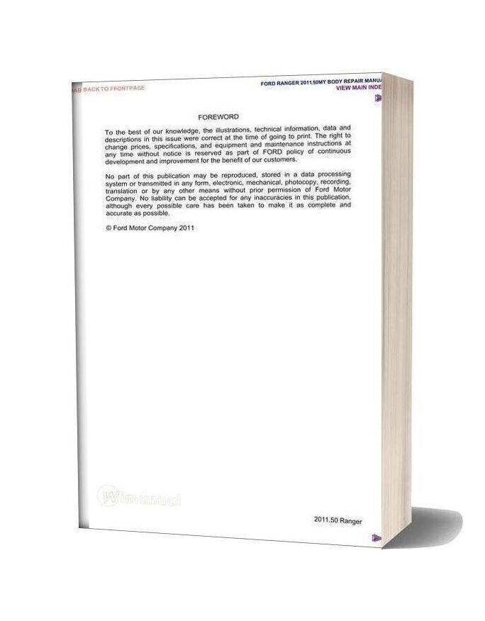 Ford Ranger 2011 Body Repair Manual
