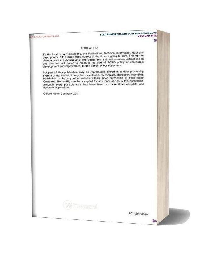 Ford Ranger 2011 Workshop Manual