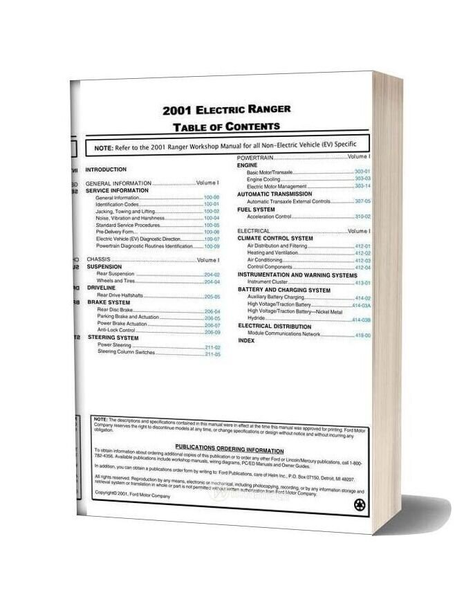 Ford Ranger Ev Workshop Manual 2001