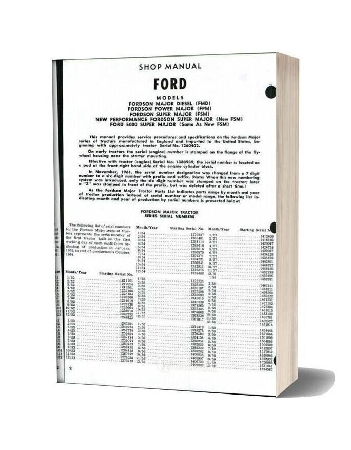 Ford Son Major Power Super Shop Manual