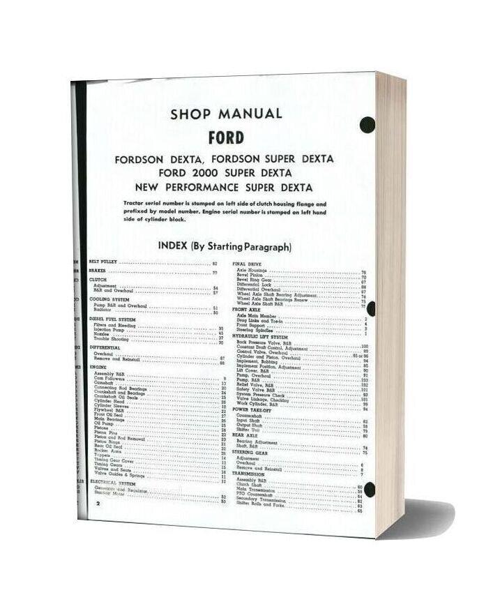 Ford Super Dexta 2000 Shop Manual