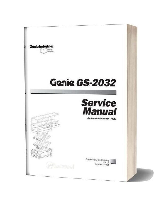 Genie Scissors Gs 203226323232 To Sn 17407 Gs 2032 (Pn 46326) Service Manual
