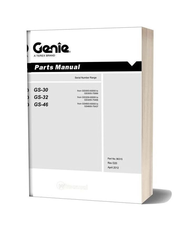 Genie Scissors Lift B Gs 2032 2632 From Sn 6000 To 75406 Parts Manual