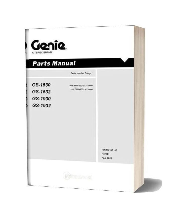 Genie Scissors Lift H Gs 1530 Gs 1532 Gs 1930 Gs 1932 From Sn Gs3011c Parts