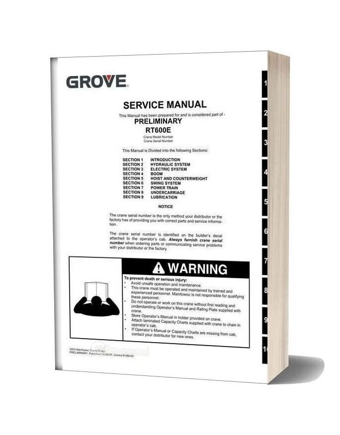 Grove Crane Rt600e 2 Service Manual