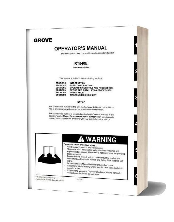 Grove Mobile Crane Rt540e Operators Manual