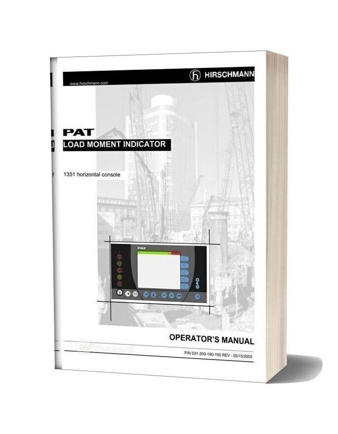 Grove Pat Load Moment Indicator 1351 Horizontal Console Operator Manual