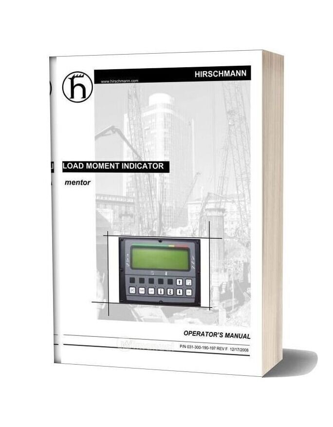Grove Pat Load Moment Indicator Mentor Operator Manual