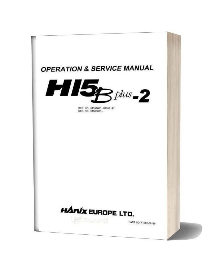 Hanix H15bplus 2 English Operation & Service Manual