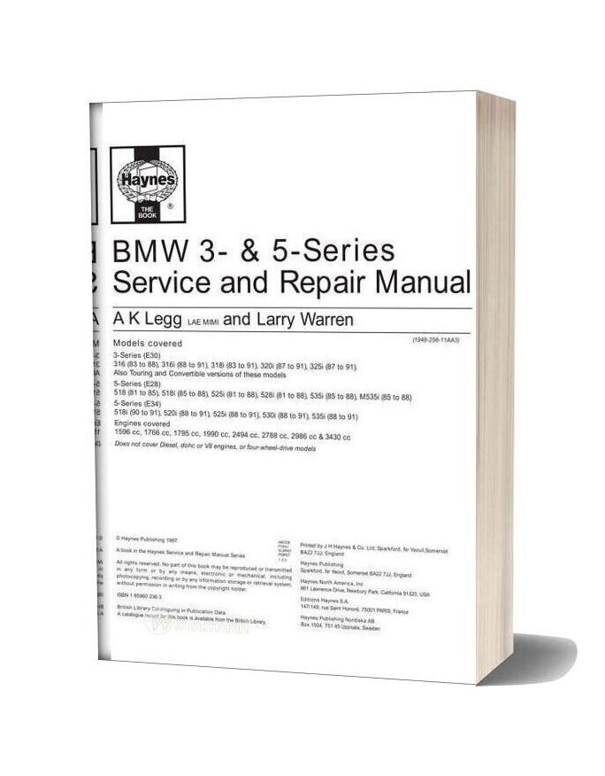Haynes Repair Manual Bmw E30 E28 E34