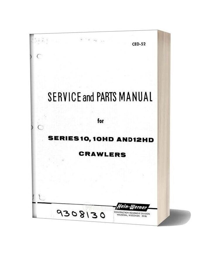 Hein Warner 10 10hd 12h Spm 9308130 Parts Book