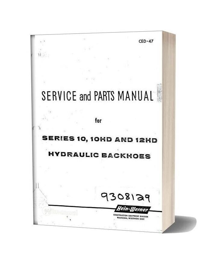 Hein Warner 10 10hd 12hd Spm 9308129 Parts Book