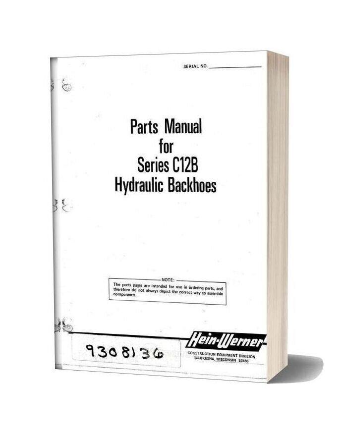 Hein Warner C12b Pm 9308136 Parts Book